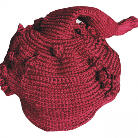 Dark Red Chieftaincy Crochet Cap